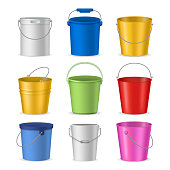 Realistic Detailed 3d Color Empty Plastic or Metal Buckets Set Pail and Handle. Vector illustration of Bucket