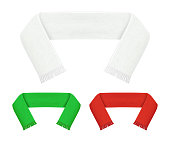 Realistic Detailed 3d Football Fans Scarf Set Soccer Sport Symbol Support. Vector illustration of Competition Color Accessory
