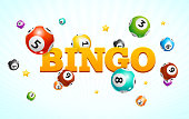 Realistic Detailed 3d Lotto Bingo Concept Card Background Symbol of Game . Vector illustration of Different Types Colorful Fly Lottery Balls