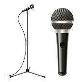 Realistic Detailed 3d Stage Microphone, Cable with Stand Equipment for Performance, Entertainment, Studio, Karaoke Sing or Concert. Vector illustration