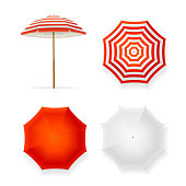 Realistic Detailed 3d Color and Template Blank White Sun Umbrella Set on Side or Top View. Vector illustration