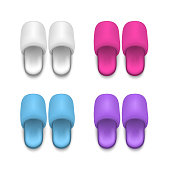 Realistic Detailed 3d Template Blank Color Home or Hotel Soft Slippers Mock Up. Vector illustration of Comfortable Footwear