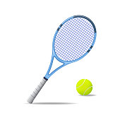 Realistic Detailed 3d Tennis Racket and Ball Equipment for Competition Play Game Concept. Vector illustration of Activity Leisure
