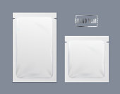 Realistic Detailed 3d White Template Blank Mockup Disposable Foil Sachet Set on a Gray Background for Store. Vector illustration