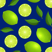 Realistic Detailed 3d Whole Ripe Green Fruit Lime and Slice Seamless Pattern Background . Vector illustration of Fresh Citrus and Half