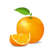 Realistic Detailed 3d Whole Orange with Green Leaf and Slice Vitamin C. Vector illustration of Ripe Fruit Citrus
