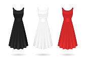 Realistic Detailed 3d Women Dress Mock Up White, Red and Black Set Isolated on Background Elegant Classic Clothing. Vector illustration