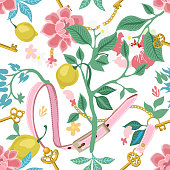 Seamless vector pattern with lemons, flowers, golden chains and leather belts. Vintage textile collection.