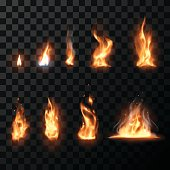 Realistic fire flames set in vector