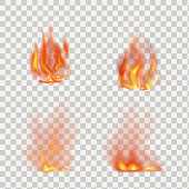 Realistic fire flames vector isolated on transparent background