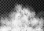 Realistic   fire smoke  or mist texture. White fog isolated on transparent background.  Steam special vector effect.