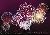 Realistic fireworks background vector