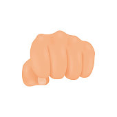 Realistic front view punching or hitting fist. Hand vector illustration
