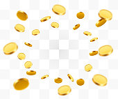 Realistic Gold Coins explosion. Isolated on transparent background. Vector illustration