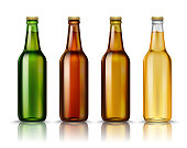 Realistic Green, brown, yellow and white glass beer bottles with drink isolated on a white background. Template blank for product packing advertisement.