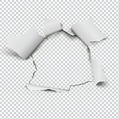 Realistic hole in paper on transparent background.