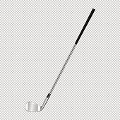 Realistic icon of classic golf club isolated on transparent background. Design template closeup in EPS10 vector.