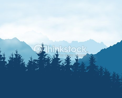 Realistic Illustration Of A Coniferous Forest In A Mountain