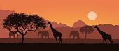 Realistic illustration of a mountain landscape on safari in Kenya, Africa. Giraffes and elephants with trees. Orange sky with sun - vector