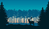 Realistic illustration of landscape with coniferous forest and morning blue sky with rising sun. Deer with antlers standing. Suitable as advertising for hunting or nature - vector