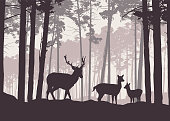 Realistic illustration of mountain landscape with coniferous forest under sky with haze. Deer, doe and little deer standing and looking into valley - retro vector