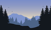 Realistic illustration of mountain landscape with forest, under blue sky with flying birds and rising sun - vector