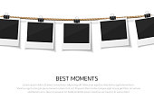 Collect moments. Instant photo frame collection. Vector  photo hanged on a rope. Retro photos on a thread.
