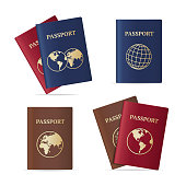 Realistic International Passport with Map Set Identification Document for Travel. Vector illustration
