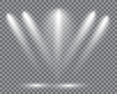 Realistic led lights from projector. Bright lighting with spotlights. Photometric effects with transparency.