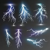 Realistic lightnings set with transparency for design. Magic and bright lighting effects. Natural effects