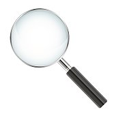 Realistic magnifier isolated on white background - vector illustration.