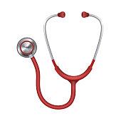 Realistic medical stethoscope, phonendoscope isolated on white background. Medical instrument for listening. Vector illustration