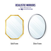 Realistic Mirrors Set Vector. Mirror Frames Or Mirror Decor
