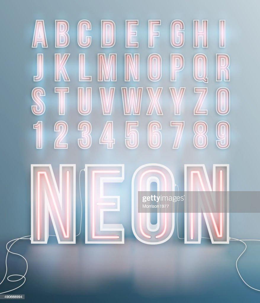 Realistic neon font alphabet vector