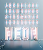 Realistic neon font alphabet in vector format
