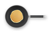 Realistic pancake in the frying pan closeup isolated on white background, top view. Design template for breakfast, food menu and homestyle concept.