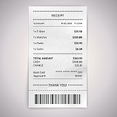 Realistic paper shop receipt. Vector cashier bill on white background