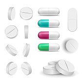 Capsule Pills And Drugs Set Vector. Pharmaceutical Drugs And Vitamin. Isolated On White Illustration
