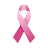 Realistic pink ribbon. Breast cancer awareness symbol isolated on white.
