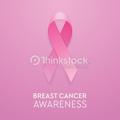 Realistic Pink Ribbon Closeup On Pink Background Breast Cancer