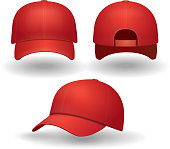 Realistic red baseball cap set. Back front and side view isolated 3d vector illustration.