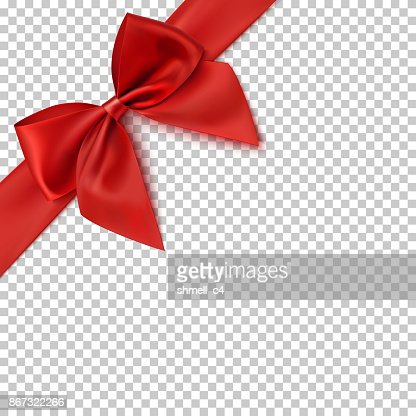 Realistic red bow and ribbon. : Vector Art