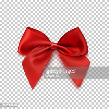 Realistic red bow isolated on transparent background. : Vector Art