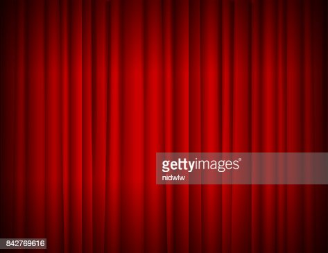 Realistic Red Full Closed Stage Curtains Background. Vector : stock vector