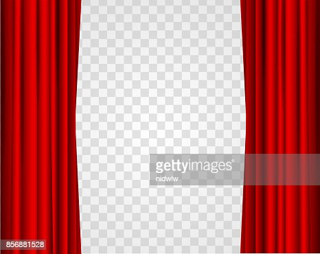 Realistic Red Opened Stage Curtains on a Transparent Background. Vector : stock vector