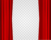 Realistic Red Opened Stage Curtains on a Transparent Background Element Of Interior Decoration Place for Your Text. Vector illustration of Curtain