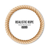 Realistic Rope Vector. 3D Circular Rope Isolated On White Background. Illustration Of Twisted Nautical Thick Line. Graphic String Cord