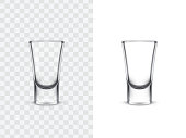 Realistic shot glasses for alcoholic drinks, vector illustration isolated on white and transparent background. Mock up, template of strong alcohol shots, such as vodka, tequila