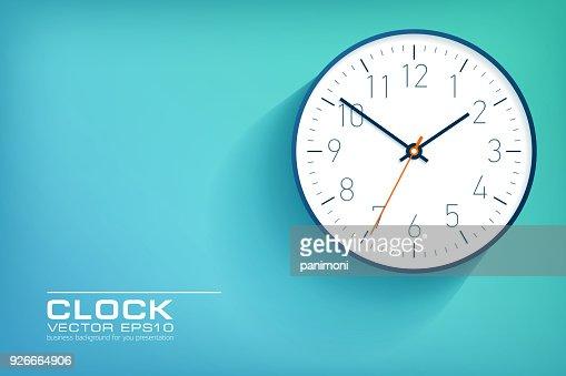 Horloge Simple Realiste Dans Un Style Plat Avec Numeros Regarder Sur