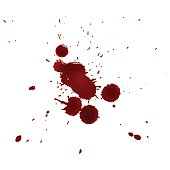 Vector illustration. Set of realistic splattered drops of blood on a white background. Design for posters, cards, banners in the style of horror, halloween